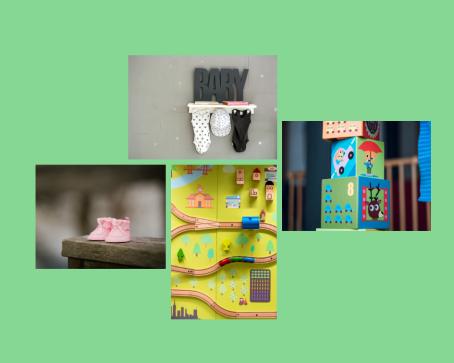 Fotocollage van babykleertjes en babyspeelgoed.