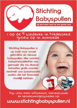 Poster van Stichting Babyspullen met een uitleg waar de stichting voor staat.